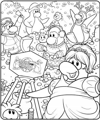 club penguin coins for change coloring page