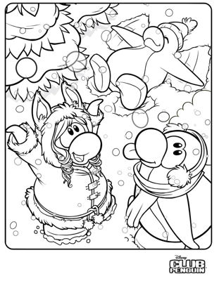 New club penguin let it snow coloring page club penguin for Club penguin coloring page
