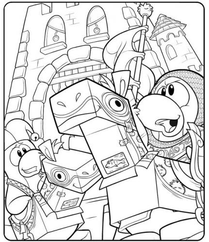 new club penguin medieval party coloring page
