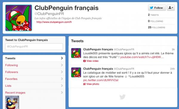 Club Penguin French Twitter Account and Video By Loustik005
