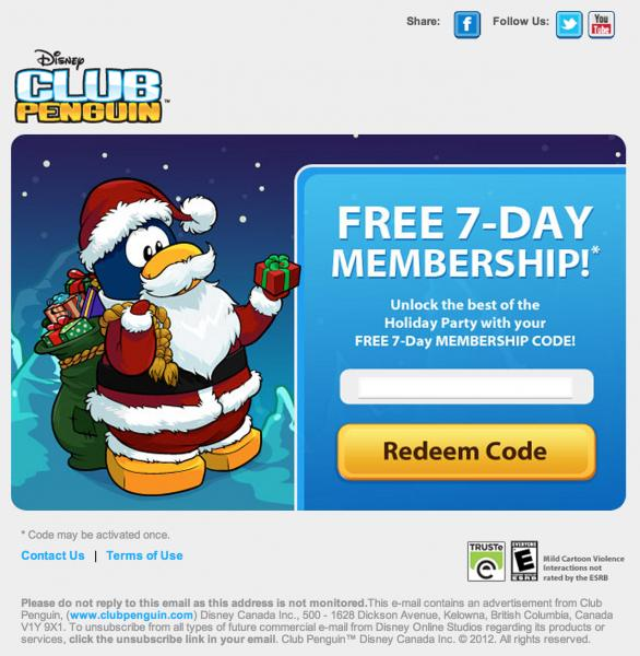 This is not the first time Club Penguin has emailed some penguins a